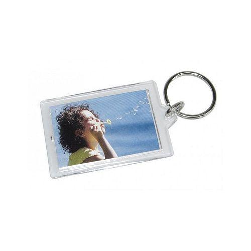 Schlüsselanhänger Acryl für Passbildformat 3,5x4,5cm mit Öffnungshilfe 1 Stück