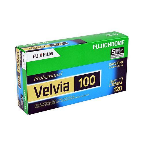 FUJI Velvia 100 Dia-Farbfilm (Umkehrfilm), 120 Rollfilm 5 Stück RVP-100
